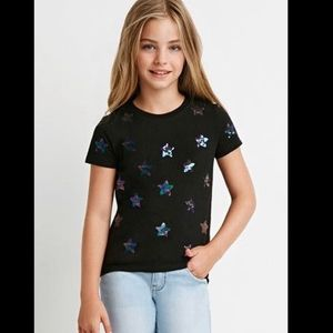 Forever 21 black tee with sequined stars print